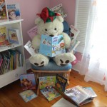 Bear was so excited.  He was asked to visit a  class and share some of his favourite picture books. But he just                                                                 couldn't decide which ones to take.