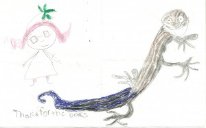 Beautiful drawings of Gabby and Stewie the Skink